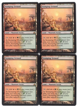 Magic the Gathering Guildpact Single PLAYSET Stomping Ground X4 - SLIGHT PLAY (SP)