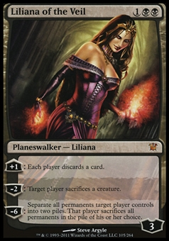 Magic the Gathering Innistrad Single Liliana of the Veil - MODERATE PLAY (MP)