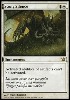 Magic the Gathering Innistrad Single Stony Silence FOIL - MODERATE PLAY (MP)