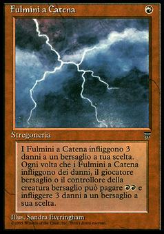 Magic the Gathering Legends ITALIAN Single Chain Lightning - MODERATE PLAY (MP)