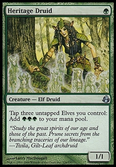 Magic the Gathering Morningtide Single Heritage Druid FOIL - MODERATE PLAY (MP)