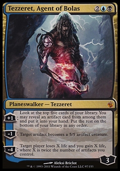 Magic the Gathering New Phyrexia Single Tezzeret, Agent of Bolas - MODERATE PLAY (MP)