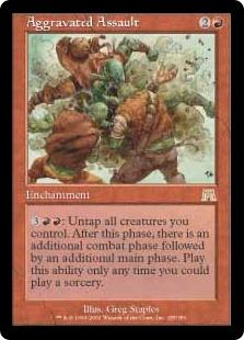 Magic the Gathering Onslaught Single Aggravated Assault - MODERATE PLAY (MP)
