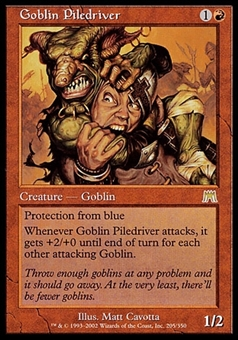 Magic the Gathering Onslaught Single Goblin Piledriver - HEAVY PLAY (HP)