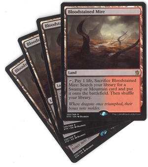 Magic the Gathering Khans of Tarkir PLAYSET Bloodstained Mire X4 - NEAR MINT/SLIGHT PLAY (NM/SP)