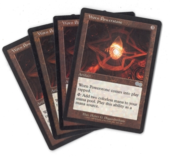 Magic the Gathering Urza's Saga PLAYSET Worn Powerstone X4 - SLIGHT PLAY (SP)