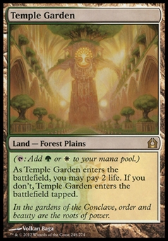 Magic the Gathering Return to Ravnica Single Temple Garden FOIL - MODERATE PLAY (MP)