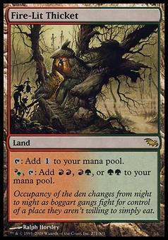 Magic the Gathering Shadowmoor Single Fire-Lit Thicket FOIL - SLIGHT PLAY (SP)