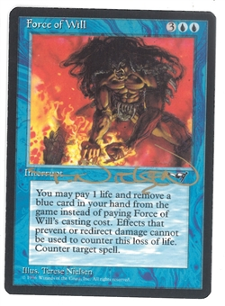 Magic the Gathering Alliances Single Force of Will (SIGNED BY ARTIST) - NEAR MINT (NM)