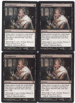 Magic the Gathering Theros PLAYSET Thoughtseize X4 - NEAR MINT/SLIGHT PLAY (NM/SP)