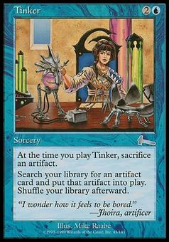 Magic the Gathering Urza's Legacy Single Tinker FOIL - MODERATE PLAY (MP)