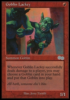Magic the Gathering Urza's Saga Single Goblin Lackey - MODERATE PLAY (MP)