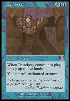 Magic the Gathering Urza's Destiny Single Treachery FOIL - MODERATE PLAY (MP)