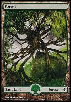 Magic the Gathering Zendikar Single Forest (#249) FOIL - SLIGHT PLAY (SP)