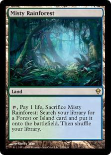 Magic the Gathering Zendikar Single Misty Rainforest - SLIGHT / MODERATE PLAY (SP/MP)