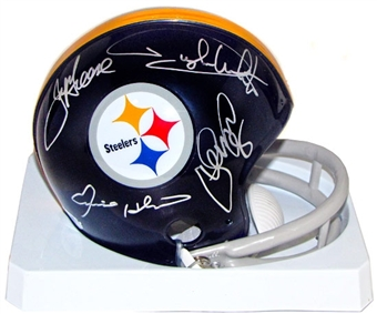 The Steel Curtain Autographed Pittsburgh Steelers Mini Football Helmet