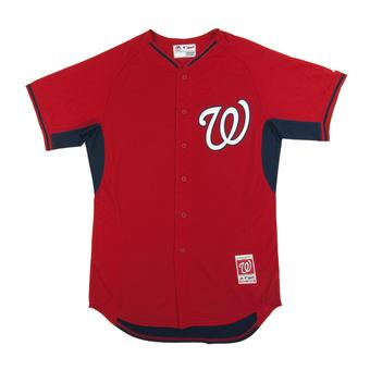 Washington Nationals Majestic Red BP Cool Base Performance Authentic Jersey (Adult 52)