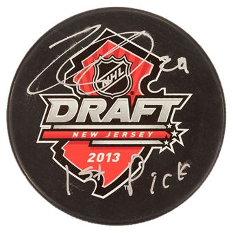 Nathan MacKinnon Autographed Colorado Avalanche 2013 NHL Draft Puck (Frameworth)