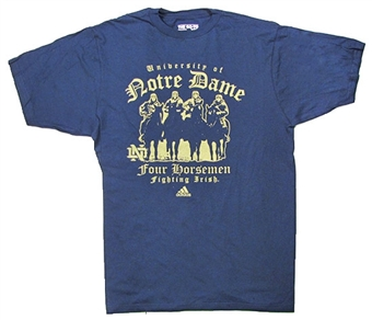Notre Dame Fighting Irish Navy Adidas Four Horseman T-Shirt (Size Small)
