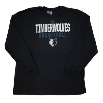 Minnesota Timberwolves Adidas Black The Go To Long Sleeve Tee Shirt (Adult L)