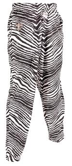 New Orleans Saints Zubaz Black and White Zebra Print Pants (Adult M)