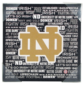 Notre Dame Artissimo Football Typography 13x13 Canvas - Regular Price $29.95 !!!