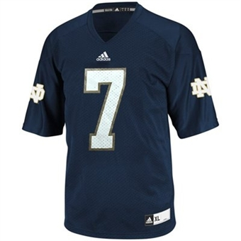 Notre Dame Fighting Irish Adidas Navy #7 Replica Football Jersey (Size Large)