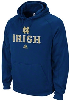 Notre Dame Fighting Irish Adidas Navy Climawarm Pindot Hoodie (Size Medium)