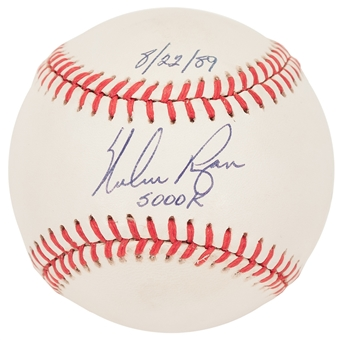 Nolan Ryan Autographed Texas Rangers AL MLB Baseball with inscription 5000 K