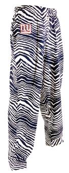 New York Giants Zubaz Blue and White Zebra Print Pants