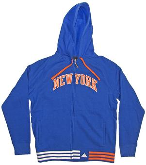 New York Knicks Adidas Blue Full Zip Hoodie (Womens X-Large)