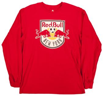 New York Red Bulls Adidas Shield Logo Red L/S Tee