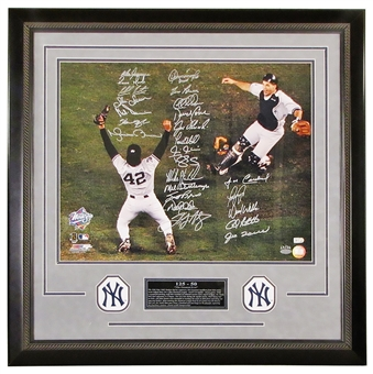 "1998 New York Yankees ""Celebration"" Autographed Framed (Double Matted Suede) 16X20"