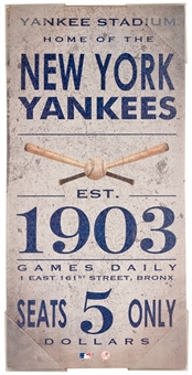 New York Yankees Vintage Ticket 10x20 Artissimo