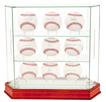 New York Yankees Autographed Official MLB Baseball Display With 9 Signed Balls (Steiner)