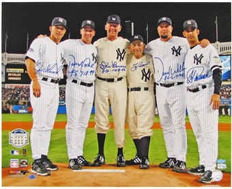 NY Yankees Perfect Game Pitchers & Catchers Autographed 16x20 Photo (Steiner)