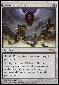 Magic the Gathering Mirroding Single Oblivion Stone FOIL - MODERATE PLAY (MP)