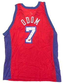 Lamar Odom Autographed Los Angeles Clippers Champion Jersey #258/415 (Fleer COA)