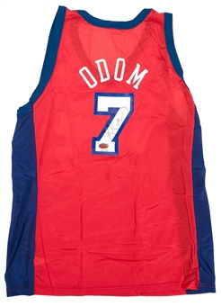 Lamar Odom Autographed Los Angeles Clippers Champion Jersey #396/415 (Fleer COA)