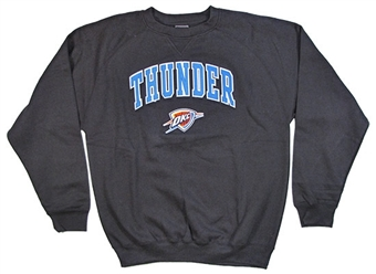 Oklahoma City Thunder Genuine Stuff Black Fleece Crewneck Sweatshirt (Adult Small)