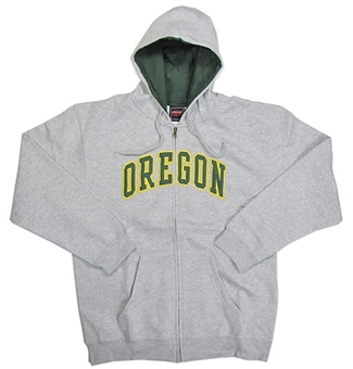 Oregon Ducks NCAA Genuine Stuff Grey Full Zip Fleece Hoodie (Size Large)
