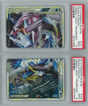 Pokemon HGSS Triumphant Palkia & Dialga LEGEND BOTH HALVES PSA 9