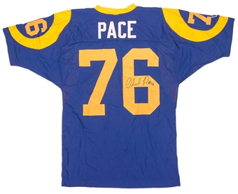 Orlando Pace Autographed St. Louis Rams Authentic Russell Athletic Jersey (Press Pass)
