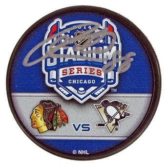 Patrick Kane Autographed Chicago Blackhawks 2014 Stadium Series Hockey Puck (Frameworth)