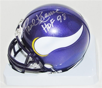 Paul Krause Autographed Minnesota Vikings Mini Helmet (DACW COA)