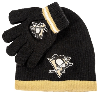 Pittsburgh Penguins Reebok Team Cuffless Knit Hat and Glove Set (Boys 4-7)