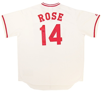 Pete Rose Autographed Cincinnati Reds Replica Jersey with 4256 Inscription