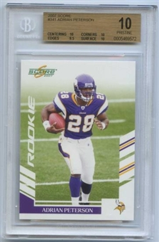 2007 Score Football #341 Adrian Peterson Rookie Card BGS 10