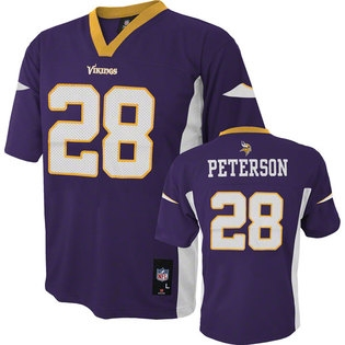 Adrian Peterson Minnesota Vikings Purple Reebok Replica Jersey (Boys Medium)