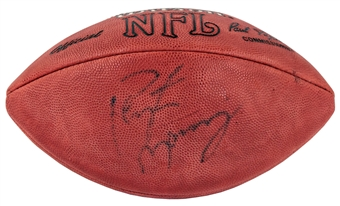 Peyton Manning Autographed Denver Broncos Wilson Football Blue Faded Signature (Press Pass)